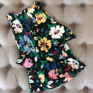 Anthropologie floral wrap top size small